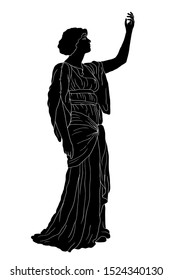 An ancient Greek woman in a tunic stands and raised her hand to the top. Vector image isolated on white background.
