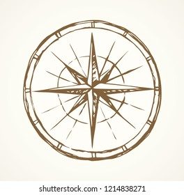 Ancient grunge windrose road point view on white paper texture backdrop. Freehand line black ink hand drawn trip sea way gps plan logo emblem border in art cartoon doodle print style on space for text