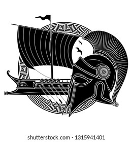 Ancient Hellenic helmet, ancient greek sailing ship galley - triera and greek ornament meander, isolated on white, vector illustration