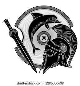 Ancient Hellenic helmet, ancient greek shield, the image of a Dolphin and greek ornament meander, isolated on white, vector illustration