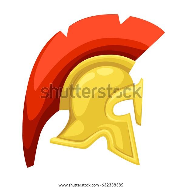 Ancient helmet Spartan helmet Isolated illustration Greek Warrior versus Trojan Soldier.