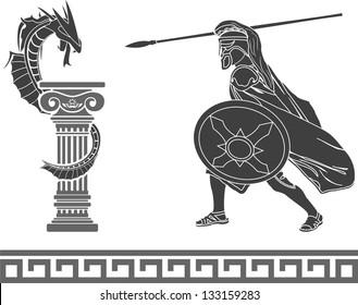Ancient hero and dragon. stencil. second variant. vector illustration
