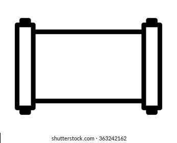 Ancient horizontal scroll line art vector icon for apps and websites
