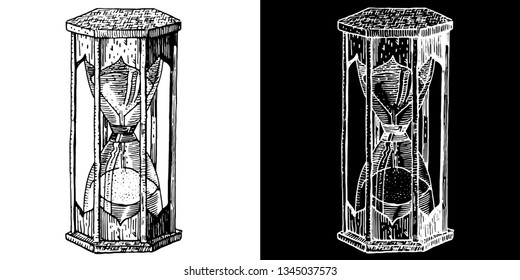 Ancient hourglass. Hand drawn engraving medieval style ink and nib pen vector illustration. Occult, ritual, alchemy, witchcraft, gothic, time, life and death symbol on white and black background.