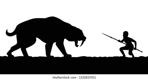 Ancient human fights against animal silhouette vector
