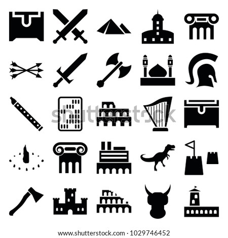 ancient icons set 25 editable filled stock vector royalty free rh shutterstock com
