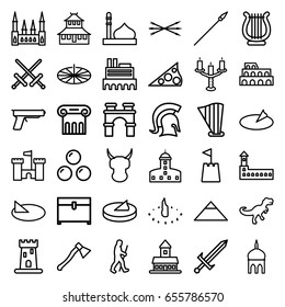 Ancient icons set. set of 36 ancient outline icons such as castle, mosque, coliseum, pyramid, greek column, arch, temple, chest, harp, candlestick, castle tower, caveman
