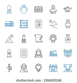 ancient icons set. Collection of ancient with minotaur, castle, egyptian, plato, bast, lyre, colosseum, alexander the great, egypt, vase. Editable and scalable ancient icons.