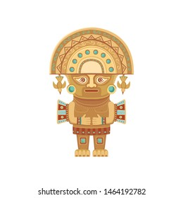 Ancient idol of the Inca gods.Color illustration