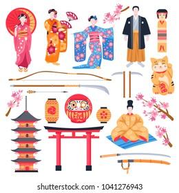 Ancient japan culture flat icons set with gate pagoda temple maneki neko talisman geisha isolated vector illustration