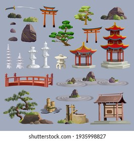 Ancient japan culture objects big set with pagoda, temple, ikebana, bonsai, trees, stone, garden, japanese lantern, watering can isolated vector illustration. Japan vector set collection