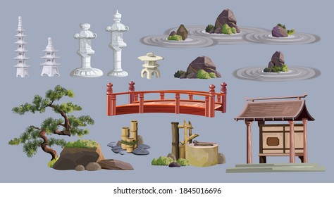 Ancient japan culture objects set with pagoda, temple, ikebana, bonsai, trees, stone, garden, japanese lantern, watering can isolated vector illustration. Japan vector set collection