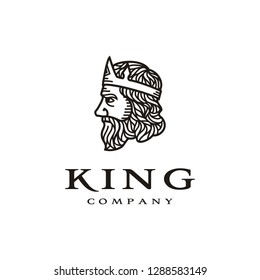 Ancient King Crown with Beard and Mustache Face logo design