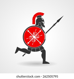 Ancient legionnaire warrior with spear and shield icon. Vector illustration