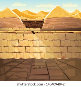 Ancient lost looted tomb or abandoned temple interior, underground cartoon vector illustration. Archeological excavations, treasures hunting concept. Desert, dug sand and sunbeam in empty crypt