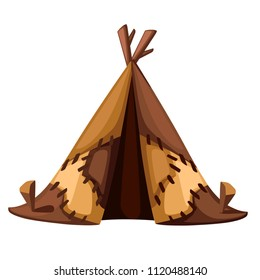 Ancient man hut. Prehistoric house from skins leather. BC tent. Flat style design. Stone age. Vector illustration isolated on white background.