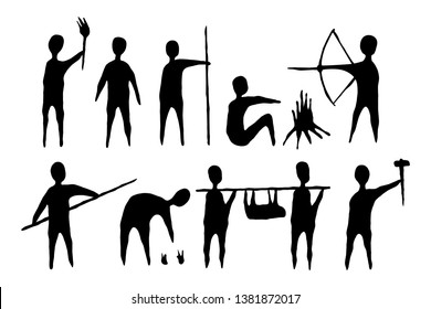 Ancient man life style in old painting silhouette vector
