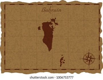 Ancient map with Bahrain silhouette on old parchment. Vector illustration. Separate layers.