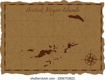 Ancient map with British Virgin Islands silhouette on old parchment. Vector illustration. Separate layers.