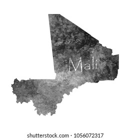 Ancient map of Mali. Old blank parchment treasure map with ancient letters on white background. Vector Illustration EPS10.