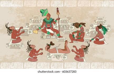 Ancient Maya, Aztec Inca. Traditional Mayan frescoes. Sacrifices scene. Ancient Maya in traditional suits. Murals ancient Mayan art