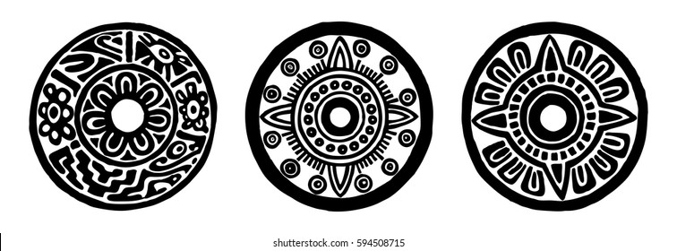 Ancient maya circle flowers, black and white