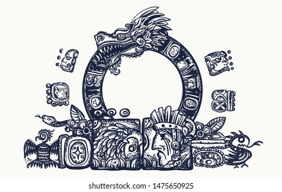 Ancient Maya Civilization.  Kukulkan. Feathered Serpent and glyphs. Quetzalcoatl. Mesoamerican mexico mythology. Tattoo and t-shirt design. Chichen Itza statues