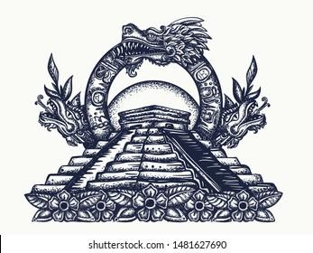 Ancient Maya Civilization. Kukulkan. Feathered Serpent and pyramids. Tattoo and t-shirt design. Chichen Itza art. Quetzalcoatl. Mesoamerican mexico mythology