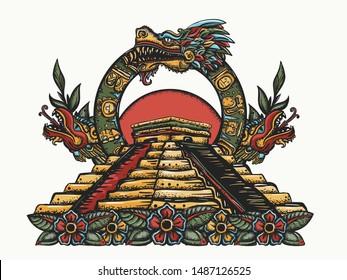 Ancient Maya Civilization. Kukulkan. Feathered Serpent and pyramids. Chichen Itza art. Quetzalcoatl. Mesoamerican mexico mythology. Color tattoo and t-shirt design