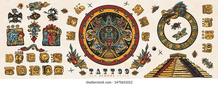 Ancient Maya Civilization. Old school tattoo collection. Mayan, Aztecs, Incas. Sun stone, pyramids, glyphs, Kukulkan. Mexican mesoamerican culture. Traditional tattooing style