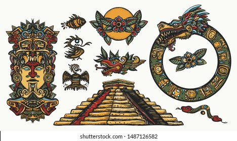 Ancient Maya Civilization. Totem, glyphs, pyramid,Kukulkan god. Old school collection. Ancient mexican mesoamerican culture. Traditional tattooing style