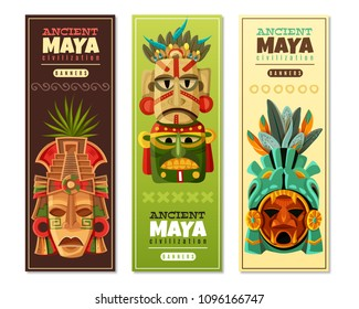 Ancient maya civilization vertical banners set with mayan mask as religious objects imaging mayan gods isolated vector illustration