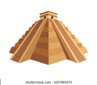Ancient Maya pyramid with temple on top and long stairs