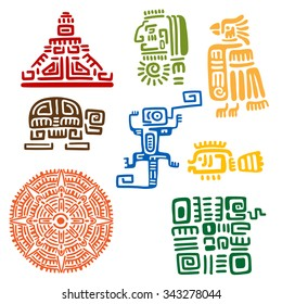 Ancient mayan and aztec totems or religious signs with colorful symbols of sun, bird, snake, turtle, fish, lizard, pyramid and warrior. For tattoo or t-shirt design