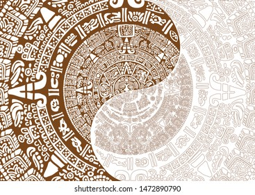 Ancient Mayan Calendar Images of characters of ancient American Indians.The Aztecs, Mayans, Incas. Mayan calendar.The Mayan alphabet.