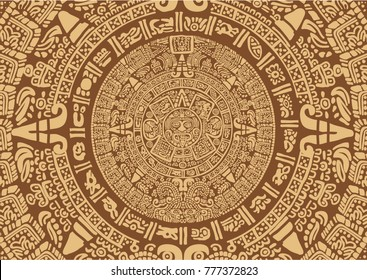 Ancient Mayan Calendar. Images of characters of ancient American Indians.The Aztecs, Mayans, Incas.