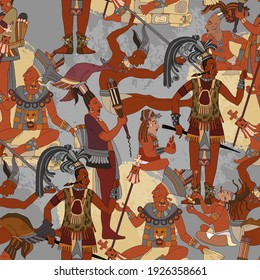 Ancient Mayan. Mural Painting. Seamless pattern. Historical art. Ancient mexican history. Old frescos style. Aztec and Inca people. Pyramid and tribe. Maya background