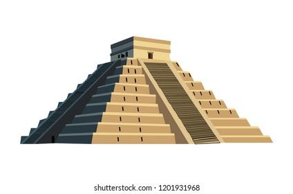 Ancient Mayan pyramid, isolated