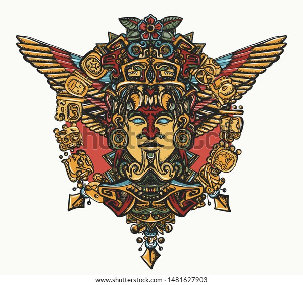 Ancient Mayan totem. Aztec god. Gold idol with wings. Mexican mesoamerican mythology. Color tattoo and t-shirt design