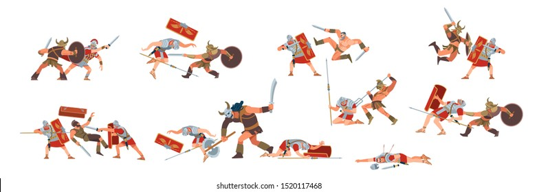 Ancient and medieval battle scene. Slave revolt. Roman legions and gladiator warriors of figures as separate objects, fight between warriors on a white isolated background. Vector flat, cartoon style