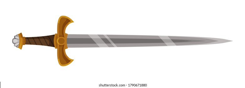 Ancient medieval battle steel sword isolated on white background. Object of historic handle weapons, military battle. Vector flat illustration of traditional Viking or warrior attack equipment
