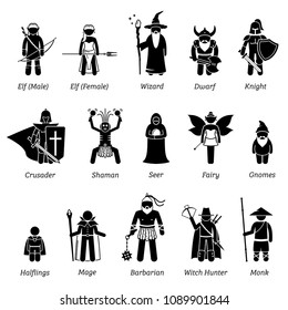 Ancient medieval fantasy characters classes and warriors icon set.