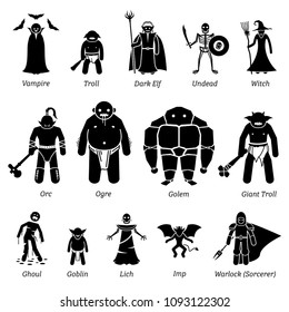Ancient medieval fantasy evil characters, creatures, and monsters icon set.