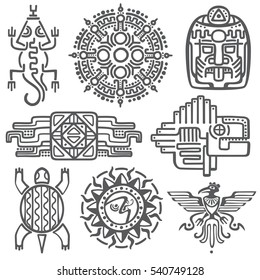 Ancient mexican vector mythology symbols. american aztec, mayan culture native totem patterns. Aztec and mexican tattoo, illustration of mayan symbol tattoo.