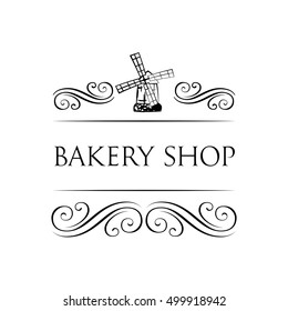 Ancient mill symbol for bakery label.. Windmill Bakery Shop. vintage label with chocolate cupcake. filigree ornate frame.
