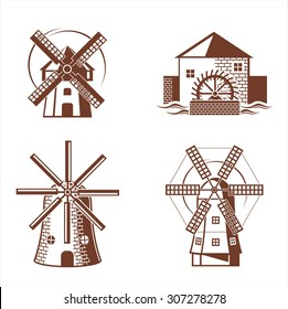Ancient mill symbols. Vector set.