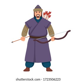 Ancient mongolian warrior is standing with the bow and arrow in hand