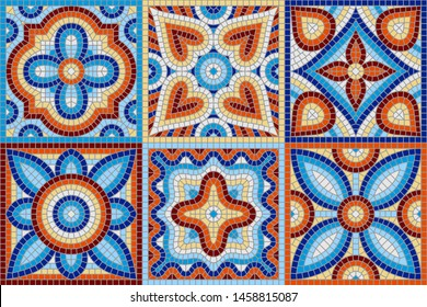 Ancient mosaic ceramic tile pattern. Colorful tessellation ornament. Floral decorative texture.