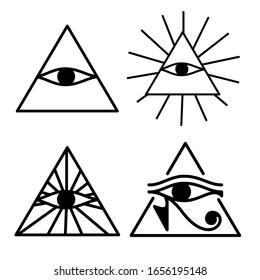 Ancient mystic egyptian symbol. Vector isolated editable black icon on white background. Conspiracy theory. Egyptian paganism. Ancient egyptian religion. Hieroglyph. Magic amulets. Masons. Freemasony.