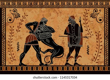 Ancient myth sceen,Black figure pottery,Hercules heroic deed,Ancient warrior and monster,